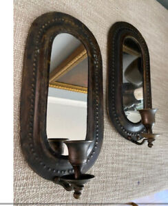 VINTAGE METAL & MIRRORED WALL MOUNTED CANDLE SCONCE HOLDER