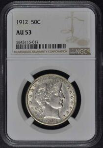1912 Barber Half Dollar 50C NGC AU53