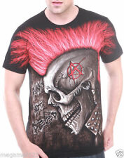 Cotton Short Sleeve Graphic Tee Punk T-Shirts for Men