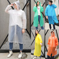 Men Women Unisex Raincoat Transparent Waterproof Hooded Cover Clear Rainwear
