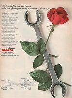 1967 Original Advertising' Vintage Iberia International Airlines Of Spain Pink