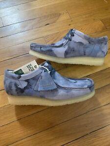 Clarks Originals WALLABEE Lace Up Suede Moccasins 60205 Blue Camo Men's Size 9