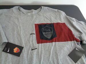 NIKE AS Roma FC Gray Soccer Club Pocket T-Shirt 832678-063 Size XXL 2XL New