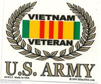 ARMY VIETNAM VETERAN RIBBON GOLD WREATH STICKER  DECAL