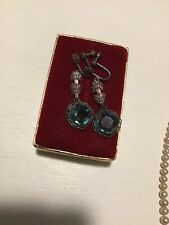 Antique Vintage Art Deco Sterling Filigree Blue Topaz Paste Drop Earrings