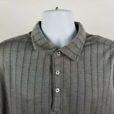 Nat Nast Luxury Mens Gray Striped Adult S/S Polo Shirt Sz 2XL XXL