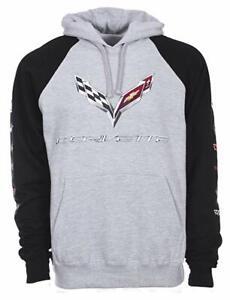 Corvette Pullover Hoodie Mens Gray Black Sweatshirt Logo COR9P3CLG9GRYBLK