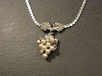 Wunderschöne 835 Silber Kette Collier Vintage Retro 70er Perlen Floral Edel