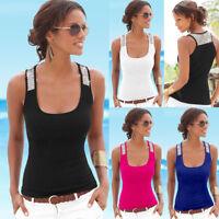UK Womens Ladies Summer Vest Top Sleeveless Blouse Casual Tank Tops T-Shirt 6-18