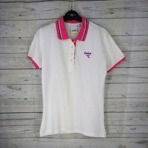 Diadora Tennis Polo Vintage retro ice white 90's raving T-shirt Size Medium  VGC