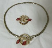 Vintage Gold Tone Ruby Red Rhinestone & Faux Pearl Necklace & Brooch