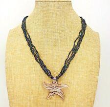 Art Glass Starfish Star Seed Bead Necklace