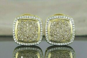 $12,500 David Yurman Large 18K Yellow Gold Pave Cognac Diamond Albion Earrings