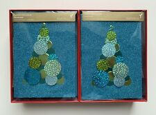 2 Boxes of 8 Papyrus Sparkle Tree Christmas Holiday Cards Lined Envelopes