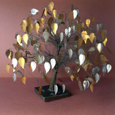Kinetic Art Wire & Foil Leaves, Fluttering Sculptural Tree, Mid-Century Modern