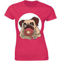 Hungry Dog Pug Love Eating Donut Cute Shirt Dog Lover Women's T-shirt Gift Tee