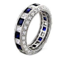 4.50 Ct. Princess cut Sapphire & Diamond Eternity Ring Infinity Love Symbol Ring