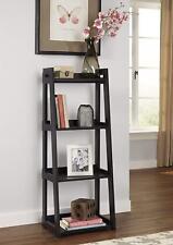 Ladder Shelf Black Walnut 4 Tier Bookshelf Home Decor Laminated Wood Bookcase