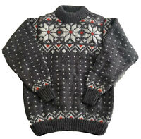 Vintage 80's Hand Knit Women's Gray, Red & White Snowflake Wool Sweater ~ XS
