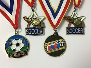 EUC Soccer Award Medals Lot of 4 On Lanyard Ribbon Stamped Crown