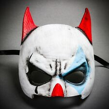 White Red Horn Scary Ghost Devil Clown Halloween Mask Masquerade Joker Zombie