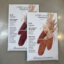 Botanical Interests Popcorn Seed 'Strawberry' - 2 new/unopened packs - 6 grams