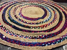 Multi Colour Round Braided Natural Fibres Jute Recycled Cotton Area Rug 150cm