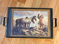 Vtg Serving Metal Tray Western Print Indian & Horses under Glass & Wood Handles