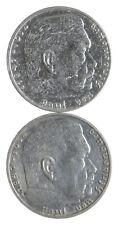 1939 1937 GERMAN WW2 NAZI 2 Mark Swastika Silver Coin - Germany War *446