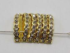 40 Golden Clear Crystal Rhinestone Half Moon 3-Hole Bridge Spacer Beads