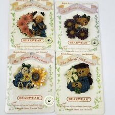 Lot Of 4 Boyds Bears Bearwear FLoral Collection PIN Pins
