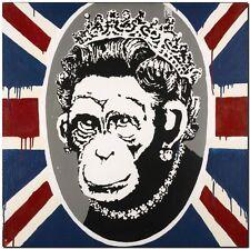 "BANKSY STREET ART *FRAMED* CANVAS PRINT Monkey Queen England flag 18x12"""