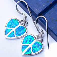 Blue Australian Opal Heart .925 Sterling Silver Earrings 1""