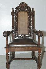 French Hunt Arm Chair, Antique 19th Century, Oak with Cane Back and Leather Seat