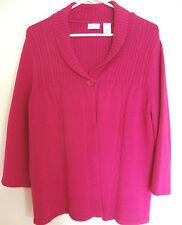 Women's Plum Cotton Blend Long Sleeve Open Sweater by Kim Rogers Size Medium