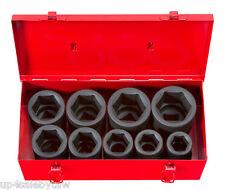 1-Inch Drive Deep Impact Socket Set, Inch, Cr-Mo, 6-Point, 1-Inch - 2-Inch, 9-pc