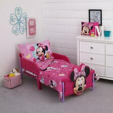 4 Piece Minnie Mouse Toddler Bedding Set Polyester Fabric 100% Machine Washable