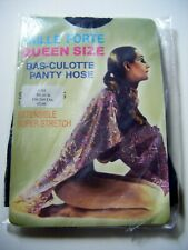 Vintage BLACK Queen Size 4XL Super Stretch Pantyhose Tights 190- 260lb NEW