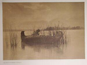 Kutenai Kootenai Skin Canoe Rush Gatherer Lake Edward Curtis 1900/72