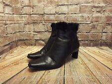 Ladies Tamaris Black Leather Zip Fastening Mid Heel Ankle Boots Size UK 6
