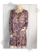 A - Robe Courte Tunique  Fantaisie Beige Violet  DDP Taille XS 34 / 36  Neuve