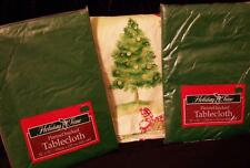 3 Vinyl Christmas TABLECLOTHS Holiday Time 60X102 52 SQ 60 RD GREEN NIP Party *