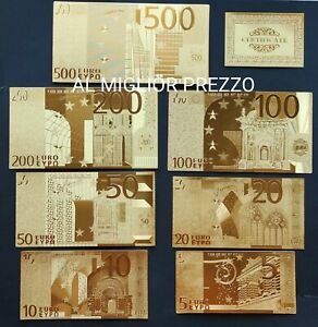 LOTTO DI BANCONOTE EURO IN FOGLIA D'ORO CON LOGO 24K GOLD OTTIMA IDEA REGALO!!