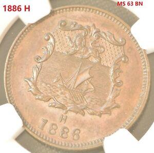 BRITISH NORTH BORNEO. 1/2 Cent, 1886-H.Copper Coin NGC MS 63 BN