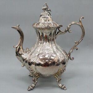 "Reed and Barton Winthrop Silverplate Pumpkin 1795C Coffee Teapot 10.5"" H"