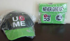WWE AUTHENTIC John Cena Green U Can't See Me Baseball Hat Headband Wristband Set