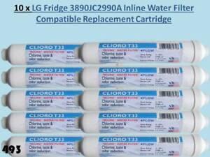 10 x LG 389JC2990A Fridge Freezer Compatible Pushfit External Water Filters 493