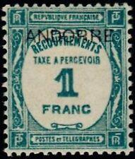 "ANDORRE FRANCAIS STAMP TIMBRE TAXE N° 12 "" TIMBRE DE 1927-31 1F "" NEUF x TB A104"