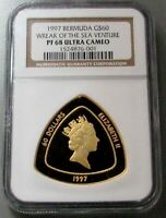 1997 GOLD BERMUDA TRIANGLE 1,500 MINTED $60 NGC PROOF 68 ULTRA CAMEO