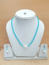 80.00Cts. Faceted Quartz Beads & Peral Gemstone Handmade Necklace Set For Women